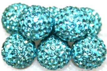 10mm Turquoise 115 Stone  Pave Crystal Beads- Half Drilled PCBHD10-115-007
